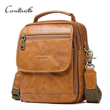 Load image into Gallery viewer, Genuine Leather Zipper Crossbody Bags For Casual Style Men Shoulder Bags With Phone Pocket Male Cow Leathe Flap Messenger Bags