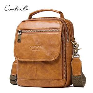 Genuine Leather Zipper Crossbody Bags For Casual Style Men Shoulder Bags With Phone Pocket Male Cow Leathe Flap Messenger Bags