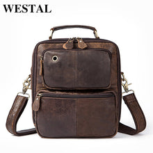 Load image into Gallery viewer, WESTAL Genuine Leather Men Messenger Bags Male Shoulder Crossbody Bags Handbag Headphone Jack Men Bag Handbags Vintage 8951