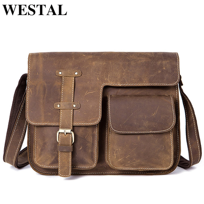 Messenger Bag Genuine Leather Vintage Crossbody Bag for Men