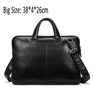 WESTAL Men's Bag Genuine Leather 14 inch laptop Briefcases Crossbody Bags for Men Totes Leather Messenger Bag Men Shoulder Bags