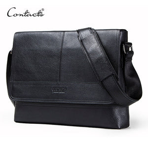 CONTACT'S genuine leather men's shoulder bag for laptop 12'' crossbody bags male bolsa top quality business man messenger bags