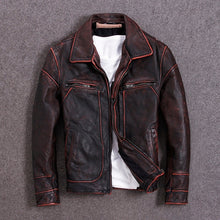 Load image into Gallery viewer, Genuine Leather Jacket For Men Cow Sking Motorcycle Jackets Unique Vintage Color