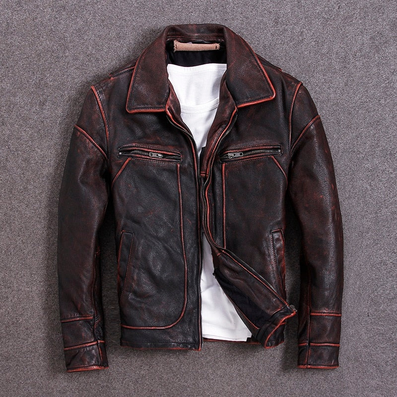 Genuine Leather Jacket For Men Cow Sking Motorcycle Jackets Unique Vintage Color