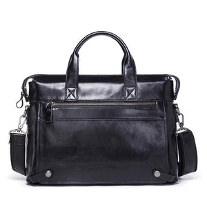 CONTACT'S Business Men Briefcase Genuine Leather Shoulder Bag For Man Business 13.3 Inch Laptop Bag With Flap Pocket Travel Bags
