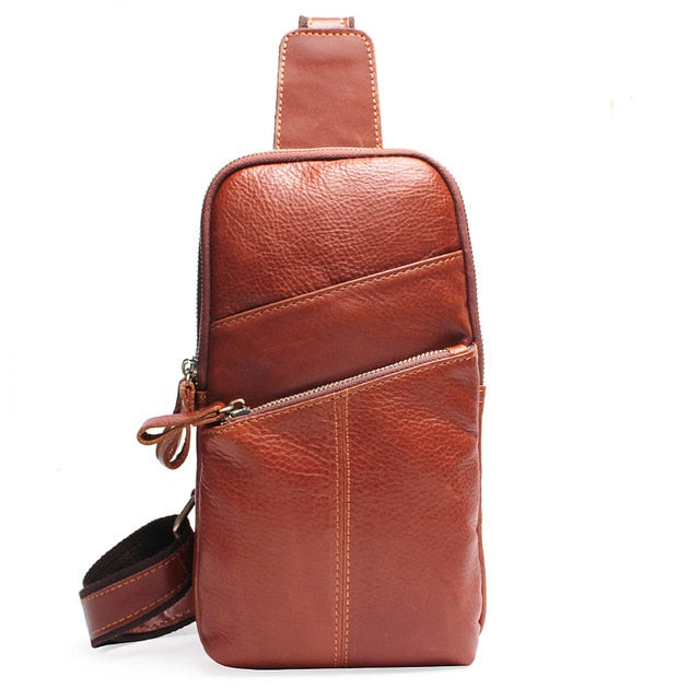Men Messenger Leather Chest Pack Casual Men's Travel Shoulder Bag Chest Bag For Men Women Leather Messenger Waist Bag