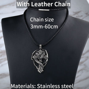 Beier 316L stainless steel Norse Vikings Pendant Amulet Dragon Cross Necklace Men