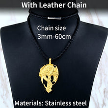 Load image into Gallery viewer, Beier 316L stainless steel Norse Vikings Pendant Amulet Dragon Cross Necklace Men