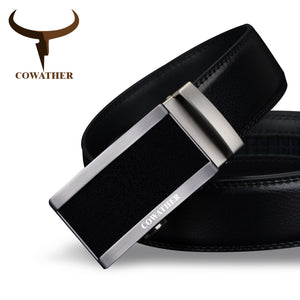 COWATHER 2018 top quality cow genuine fashion leather men belts for men automatic buckle strap cinto masculino free shipping