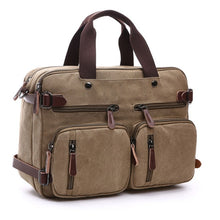 Load image into Gallery viewer, Scione Men Canvas Bag Leather Briefcase Travel Suitcase Messenger Shoulder Tote Back Handbag Large Casual Business Laptop Pocket