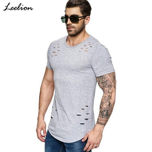 NEW 2019 Distressed T Shirt Men Fitness T-shirts Summer Short Sleeve Solid Slim Fit Clothing Many Colors