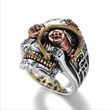 Load image into Gallery viewer, Steampunk Skull Rings for Men Women Biker Jewelry Cool Gothic Golden Skull