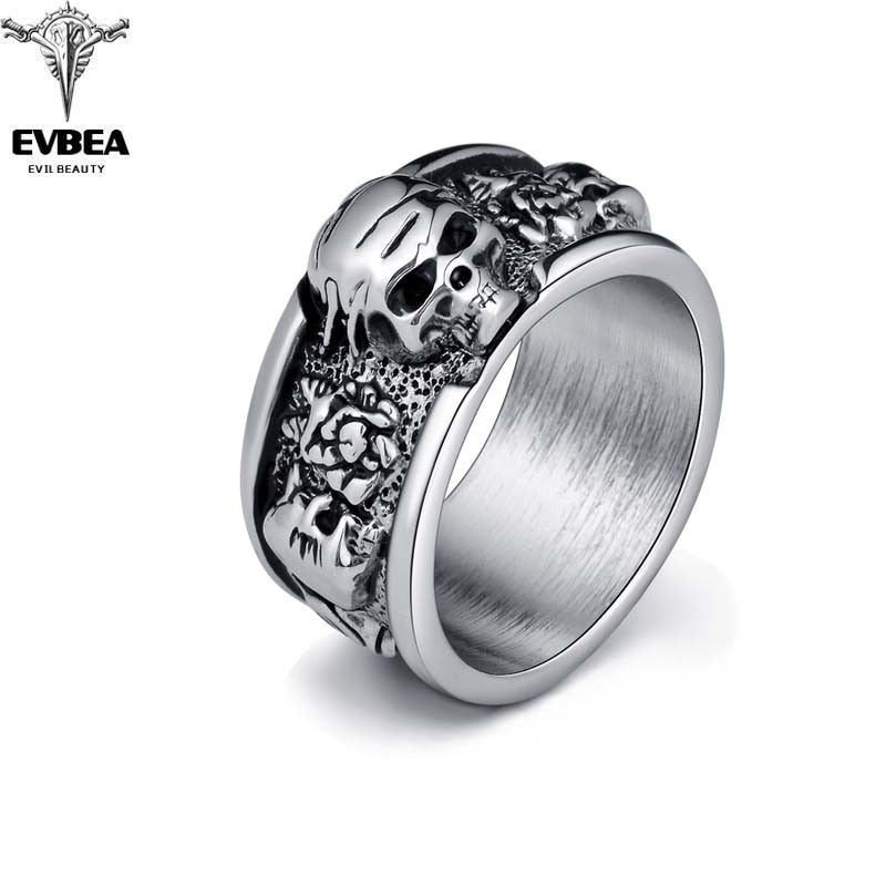 Silver Gothic Punk Band Skull Ring Men Silver Alloy