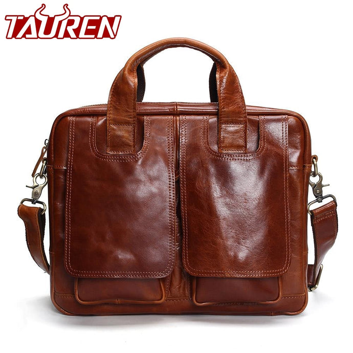 Tauren Genuine Leather Bag Men Messenger Bags Handbag Briescase Business Men Shoulder Bag High Quality 2019 Crossbody Bag Men