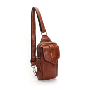 Chest Bag 2019 Fashion Genuine Leather Crossbody Bags Men Casual Messenger Bag Small Brand Designer Male Shoulder Bag