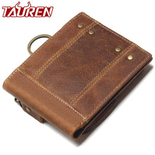 Load image into Gallery viewer, 2019 Vintage Genuine Leather Men Wallets Removable Card ID Holders With Key Chain Short Bifold Male Organizer Walets Coin Bag