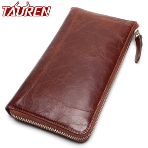 2019 New Men Bags Genuine Leather Wallets Business Handbag High-Grade Leather Wristlet  Card Package Ultra-Thin Design