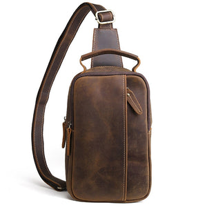 2018 Men Vintage Crazy Horse Genuine Leather Cowhide Sling Chest Back Bag Handbag Cross Body Messenger Shoulder Pack Travel Bag