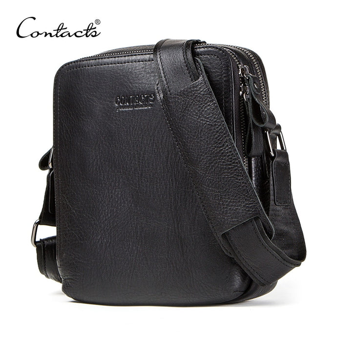 CONTACT'S genuine leather men's bag for ipad male messenger bags casual man shoulder bag crossbody bags for men bolso hombre