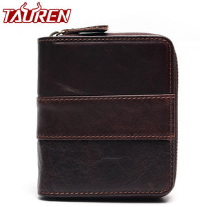 Genuine Leather Wallets Men Wallets Clutch Fashion Short Coin Purse Vintage Wallet Cowhide Leather Card Holder Coin Bag
