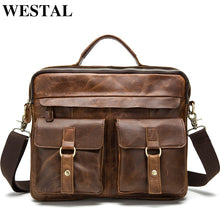 Load image into Gallery viewer, WESTAL Men's Briefcase Work/office Bags for Men Genuine Leather Messenger Laptop Bag Leather Business Briefcase Bag for Document