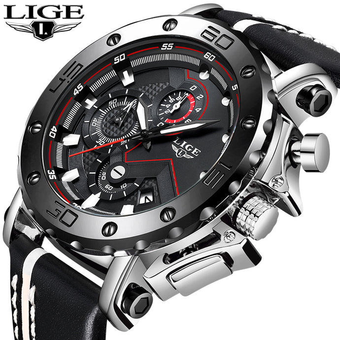 Genuine LIGE To Brand Quartz Mens Watches Casual Leather Watches Racing Chronograph Sport Watch Glow Hands
