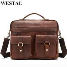 Load image into Gallery viewer, WESTAL Bag Men's Genuine Leather Messenger Shoulder Bag for Men Business Laptop Briefcase Male Crossbody Bags for Documents 8001