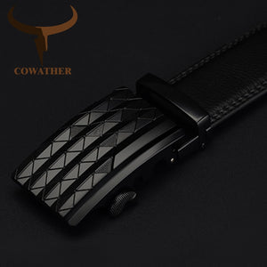COWATHER Men's Automatic Buckle belt with Cow Genuine Leather BLACK BROWN Belts for Men brand Wide 3.5 cm CZ058