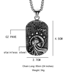Dog Tag Zodiac Constellation Necklaces Pendants Solid Casting Stainless Steel Men