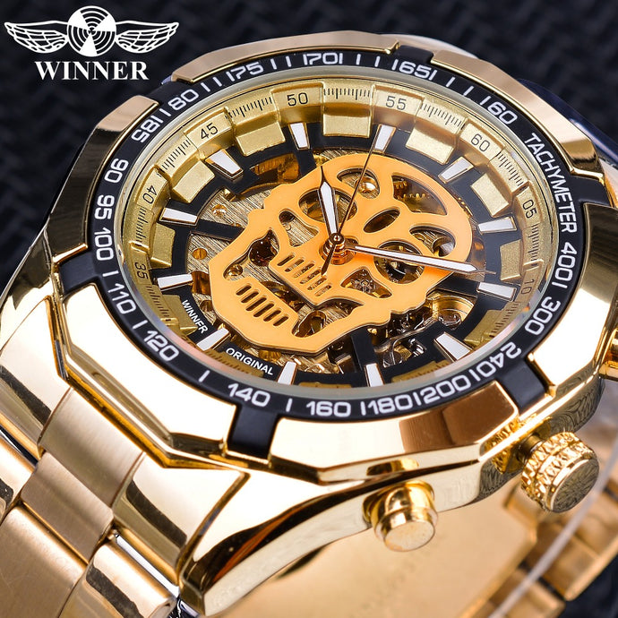 Golden Stainless Steel Skull Steampunk Transparent Mechanical Mens