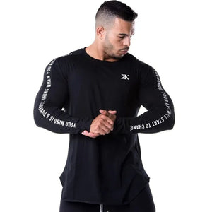 New Fashion High-elasticity Sporting T-shirt Men long Sleeve Fitness T shirt Men's solid gyms Bodybuilding T-shirt Tee