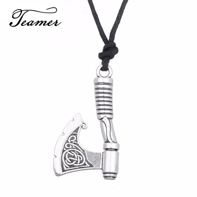 Viking Axe Pendant Necklace Men Rope Chain Scandinavian Jewelry Men