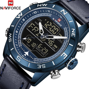NAVIFORCE Luxury Brand Men Sports Quartz Watch Mens Genuine Leather Waterproof Watches Date Week LED