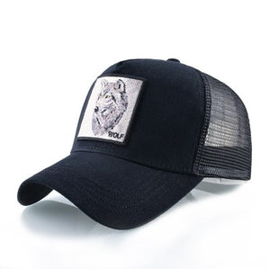 Wolf Baseball Caps Men Unisex Snapback Trucker Hats Cool Anmal Patch 4 styles