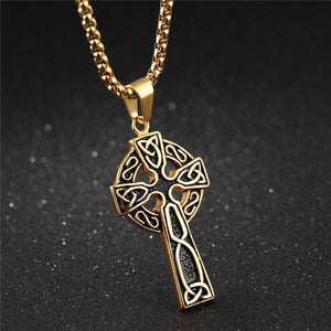 Celtic Cross Necklace Stainless Steel Irish Jewelry For Men Silver or Gold