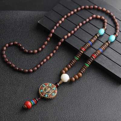 Handmade Nepal Necklace Buddhist Mala Wood Beads Pendant Necklaces 24-26