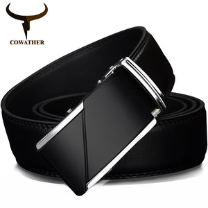 "COWATHER COW genuine Leather Belts for Men High Quality Male Brand Automatic Ratchet Buckle belt 1.25"" 35mm Wide 110-130cm long"