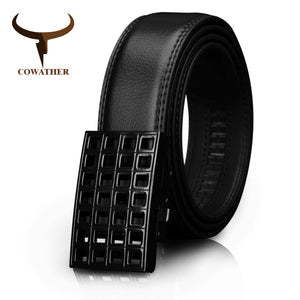 COWATHER 2019 Men Belt New Arrival Cow Genuine Leather Male Strap Cowhide Belts For Men Fashion Buckle Length 110-130cm CZ033