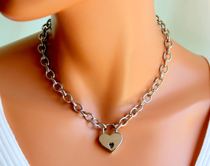 Stainless Steel Choker Necklace Women Heart Padlock Thick Chunky Choker Chain Jewelry