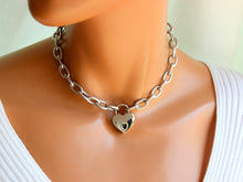 Load image into Gallery viewer, Stainless Steel Chunky Chain Necklace Women Heart Padlock Jewelry Gift Thick Silver Chain Necklaces