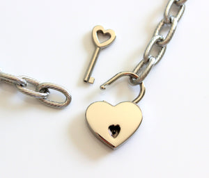 Stainless Steel Chunky Chain Necklace Women Heart Padlock Jewelry Gift Thick Silver Chain Necklaces