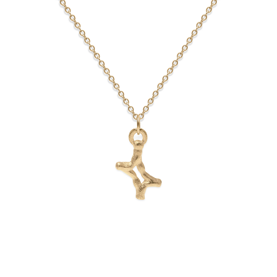 Zodiac Charm Necklace (Gemini) Solid Gold 14 ct