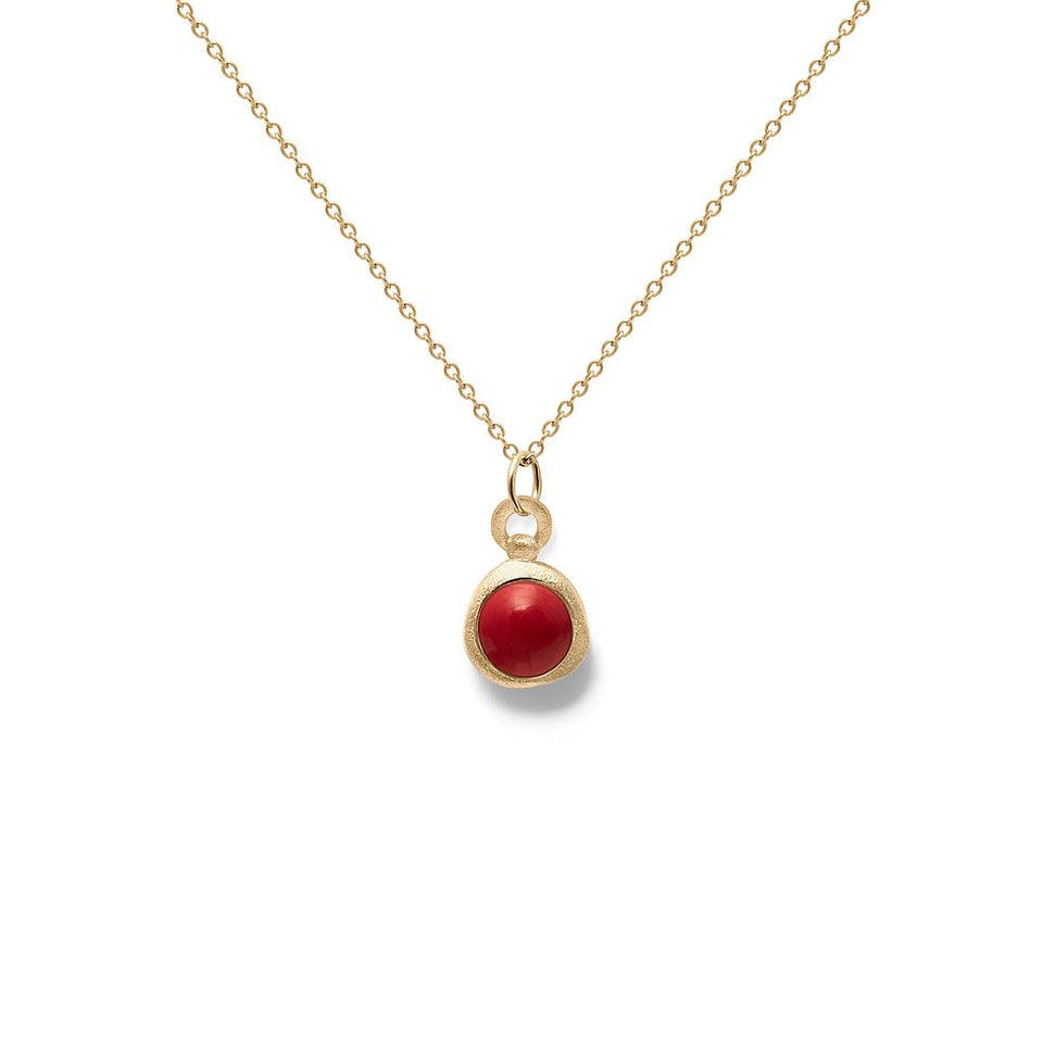 Zodiac Birthstone Necklace (Aries) Solid Gold 14 ct
