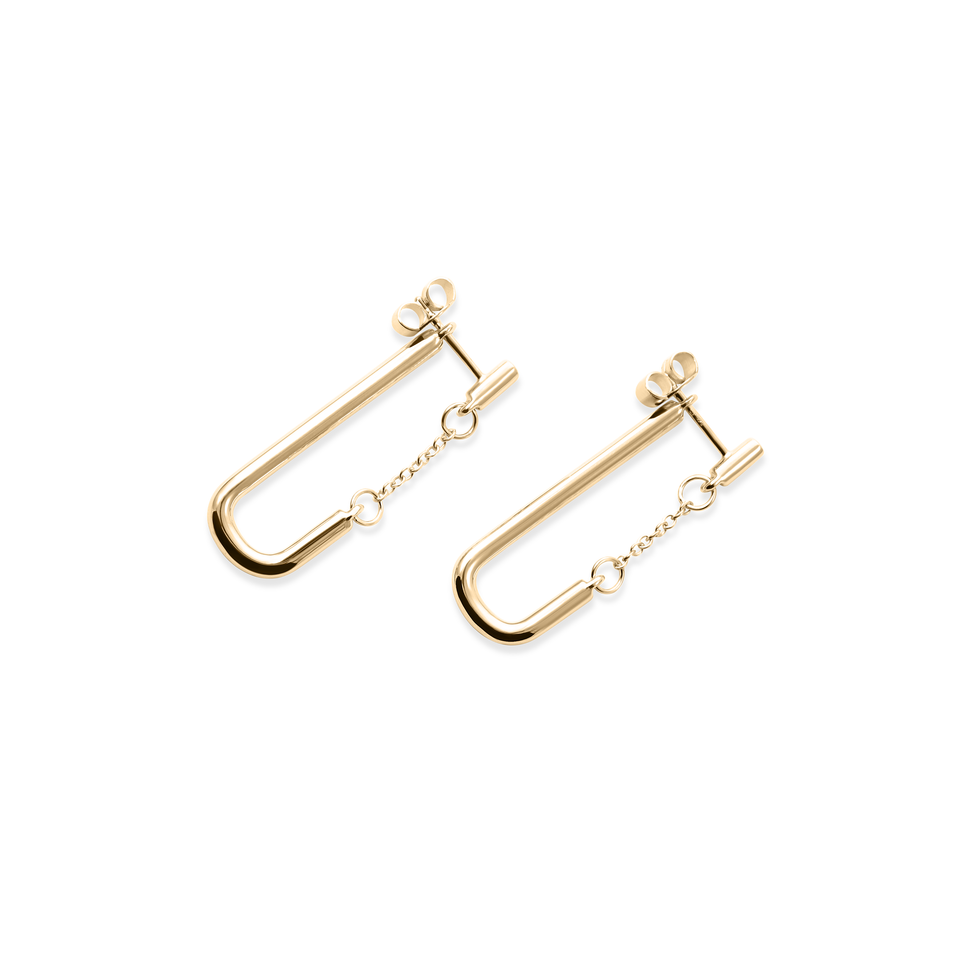 Bold Chained Earrings - Solid Gold