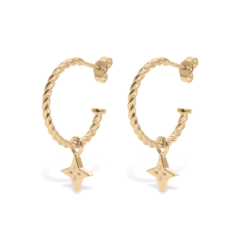 Shooting Star Pendant Set + Dune Hoops - Solid Gold