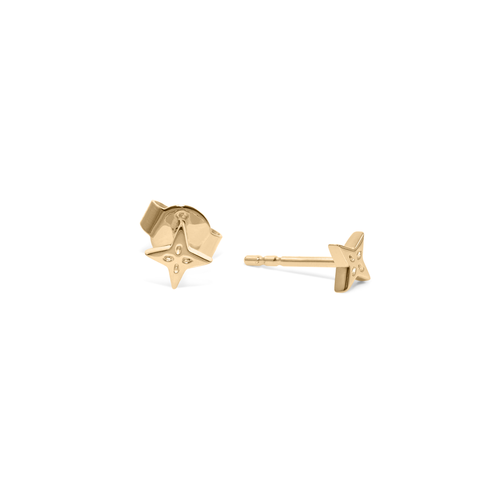 The Shooting Star Earrings (Pair) - Solid Gold