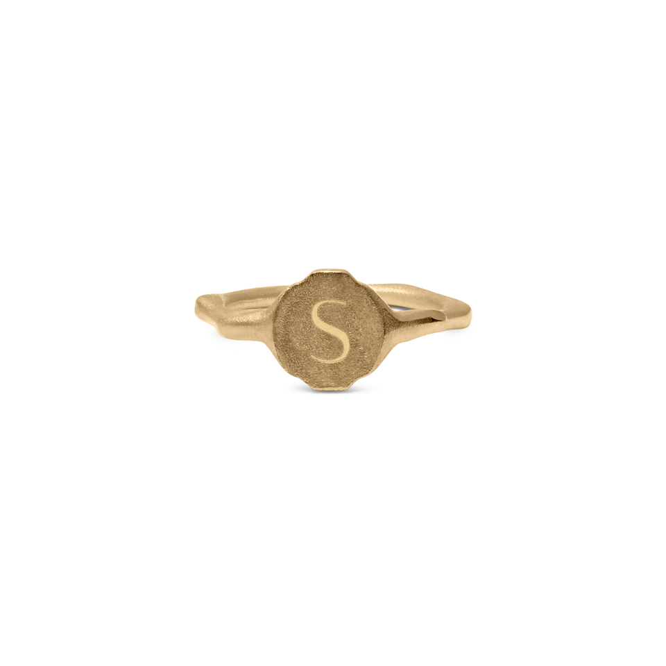 Fluid Letter A-N Pinky Ring Solid Gold 14 ct