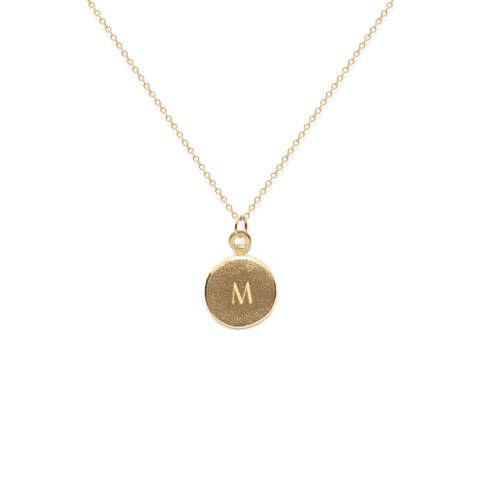Fluid Letter A-Z Medaillon Necklace Solid Gold 14 ct
