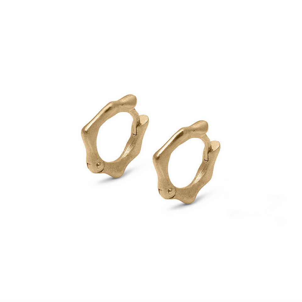Fluid Small Hoop Earrings Solid Gold 14 ct