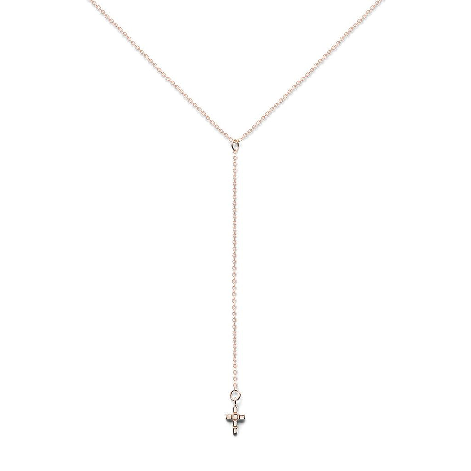 Make a Wish Cross Lariat Necklace